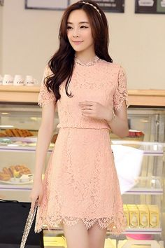 Sweet Short Sleeve Lace Dress