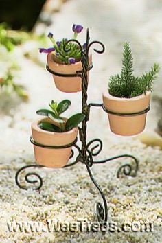Dollhouse Miniature Fairy Garden Wire Pot Stand w Pots Mini Fairy Garden, Fairy Garden Houses, Garden Fun, Gnome Garden, Fairies Garden, Miniature Plants, Miniature Fairy Gardens, Miniature Dollhouse, Mini Plants