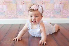 Baby Easter Headband   Shabby Flowers  Pink  White