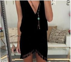 V-neck Tassels Dress