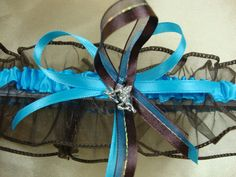 Blue and Brown Wedding Garter Set with Cupid Charms