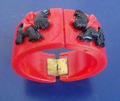 Chunky Cherry Red Scottie Dog Clamper Resin Bracelet