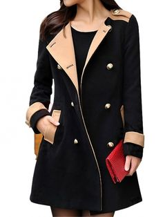 Vogue British Style Double Breasted Leisure Warm Coat Black on buytrends.com