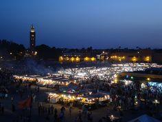Marrakech, Jamaa el Fna square at night