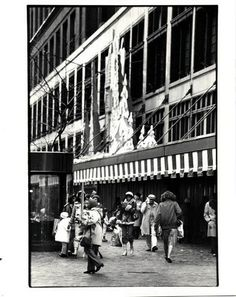 Shoppers in front of Hudson's downtown Detroit store.