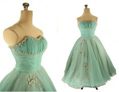 50s Fifties Strapless Ball Gown Dress XS Aqua by ArtifactVintage, $375.00