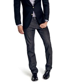 Dark Denim   If you're going to wear jeans to the office, they should be as professional as a pair of dress pants.    • No holes, no distressing. Just dark (almost inky) denim.    • Go for a slim-fit leg that won't swallow your dress shoe.