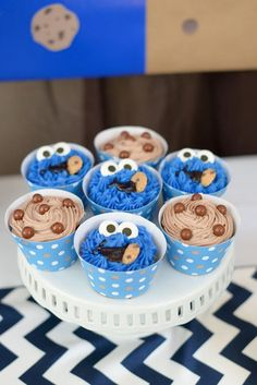 Cute cupcakes at a Cookie Monster Birthday Party! See more party ideas at CatchMyParty.com!