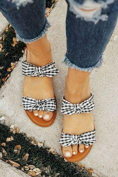 The Brinkley Gingham Bow Sandal-$28