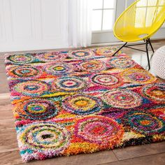 This Kindra Circles Shag Rug Will Look Great in Any Room of Your Home! #shagrug #homedecor #interiordesign #arearug #chaircover #cuddlydreams #etsyfinds #etsyforall #etsyhunter #etsyshop #etsystore #etsyusa #farmhousedecor #floorrug #furrug #furthrow Area Rugs For Sale, Rugs Usa, Circle Pattern, Online Home Decor Stores, Online Shopping, Captain Marvel, Cool Rugs, Rugs Online, Colorful Rugs