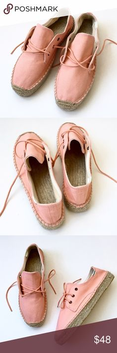 "Soludos Canvas Lace -Up Espadrilles, Nordstroms❤ This item is new without tags. Color: peachy coral. Cotton woven canvas upper. 1 inch platform sole. Six Lace-up eyelets, three at each side. Rope soles. Labeled size 10, length of bottom of sole measures 10 3/4"". Espadrille, casual sneaker, boat shoe, travel, vacation. The perfect spring/summer shoe, beautiful paired with anything white!❤ Soludos Shoes Espadrilles"