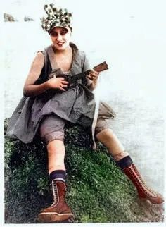 Ukulele woman. Colorized by Steve Smith from original b Colorized History, Colorized Photos, Steve Smith, Ukulele, Vintage Ladies, Hipster, Woman, Lady, People
