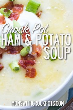Crockpot Ham and Potato Soup Recipe Possibly the best use for leftover ham EVER! Check out this easy and amazing Crock Pot Ham & Potato Soup Recipe! Great for dinner or an appetizer. Crockpot Ham And Potatoes, Cooking Ham In Crockpot, Ham And Potato Soup, Slow Cooker Recipes, Crockpot Recipes, Soup Recipes, Cooking Recipes, Ham Hock Recipes, Diced Potatoes