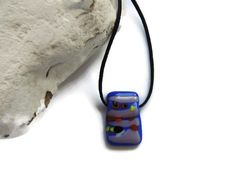 fused glass necklaceblue purple glass by Homeforglasslovers, $20.00