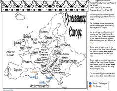 Free map of Renaissance Europe. Renaissance Homeschool Unit Study Lapbook or Notebooking page. Get it over at Tina's Dynamic Homeschool Plus. The lapbook guru!