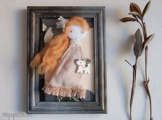 Unique Gift Framed Art Doll Girl at the Woodland