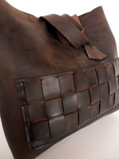Brown Leather Tote Bag Distressed Leather Bag Brown by rwoodb