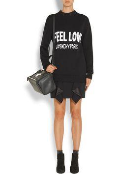 Givenchy - Ruffled Silk Satin-paneled Grain De Poudre Wool Mini Skirt - Black - FR44