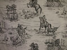 Cowboy/cowgirl Toile fabric. White by RedRoosterQuiltshop on Etsy