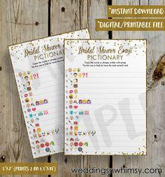 PRINTABLE Gold Glitter Confetti Bridal Shower Emoji Pictionary Game - DIY Instant Download Wedding Pictionary Emoji Game Digital File - 5x7