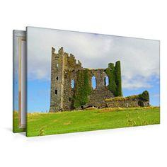 Premium Textil-Leinwand 120 cm x 80 cm quer Ein Motiv aus dem Kalender Irland - Abteien und Burgen Ballycarbery Castle Pinterest Instagram, Bookends, Castle, Home Decor, Images Of Ireland, Canvas Frame, Graphics, Calendar, To Draw