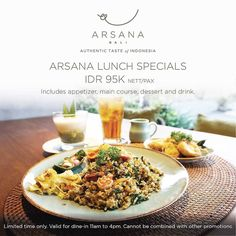 #Bali Who wants a BIG #lunch? @arsanabali wants you to have the whole authentic Indonesian experience so for a limited time only you can try Arsana Lunch Specials at IDR 95K nett/pax!  The set includes Appetizer Main Course Dessert and Drinks. Good deals don't come twice so don't miss it!  The #ArsanaSetLunch includes: Appetizer: Rolade Tahu Telur (Tofu & Egg Roulade) Mains (select one): Nasi Goreng Kampung Ayam (Java Fried Rice with Chicken) / Nasi Goreng Rendang (West Sumatra Beef Rendang…