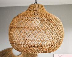Handcrafted home decor by HomewareBali on Etsy Rattan Light Fixture, Wicker Pendant Light, Plug In Pendant Light, Vintage Pendant Lighting, Pendant Lamp, Pendant Lights, Light Fixtures, Bamboo Light, Bamboo Lamp