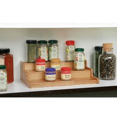 Seville 3-Tier Expandable Bamboo Spice Organizer Shelf - Natural
