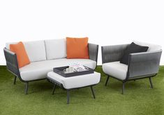 Outdoor Lounge Furniture, Outdoor Sofa, Coffee Table Dimensions, Grey Cushions, Ottoman, Upholstery, Relax, Design, Home Decor