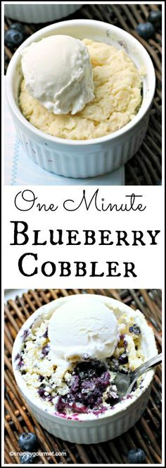 One Minute Blueberry Cobbler recipe - easy mini dessert with fresh blueberries that cooks in one minute!Sub cassava flour for aip! Mini Desserts, Homemade Desserts, Easy Desserts, Delicious Desserts, Dessert Recipes, Yummy Food, Small Desserts, Microwave Mug Recipes, Easy Microwave Desserts