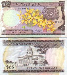 Singapore  25 Dollars (1972) (flowers, Capitol)