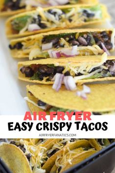 Make the best crispy tacos right in the air fryer with these air fryer crispy tacos. This recipe is the perfect way to warm up tacos for taco night. Air Fryer Dinner Recipes, Air Fryer Recipes, Lunch Recipes, Gourmet Recipes, Beef Recipes, Healthy Recipes, Ninja Recipes, Yummy Recipes, Crispy Tacos