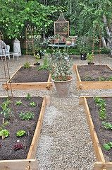 wood sided raised beds with a gravel path