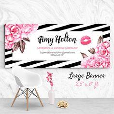 Senegence Booth Banner Lipsense Hot Pink Black Stripes Product Booth Banner Instant Download Vinyl Banner File Lipsense Large Banner