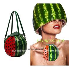 Designer 3D Fruit Watermelon shape Shoulder Bag Purse Wristlet