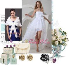 """Beautiful A-line / Princess Strapless Short Wedding Dress High-low Organza Bow"" by weddingdressesforyou on Polyvore"