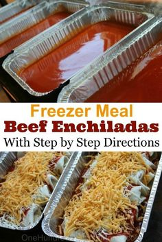 Easy Beef Enchiladas With all my Zaycon chicken to use up, I was finding myself in a chicken rut. I needed some red meat in my life! These beef enchiladas were the perfect solution. I make them almost the exact same way I make my chicken enchiladas, which Freezer Friendly Meals, Make Ahead Freezer Meals, Crock Pot Freezer, Freezer Cooking, Freezer Dinner, Individual Freezer Meals, Single Serve Meals, Chicken Freezer Meals, Cooking Pasta