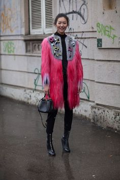 Red Fur and Gray Cap - Milan Street Style - Harper's BAZAAR