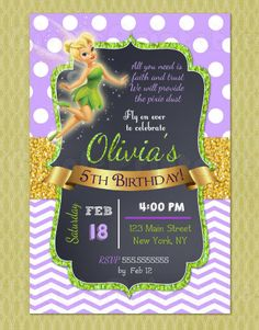 Tinkerbell Birthday Invitation Tinkerbell Invitations DIY