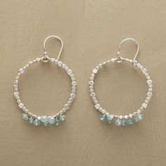 """MAKANA EARRINGS--Handmade in Hawaii, sterling silver beads dance like drops of sea spray around wire-wrapped, ocean-blue aquamarines. Sterling silver wire. Exclusive. 2""""L."""
