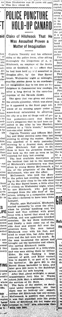 Crime Scene Witness - HP McCormack (1910). A newspaper clipping from the Nevada State Journal dated 1 Apr 1910.