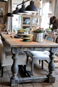 Love this table and light fixture