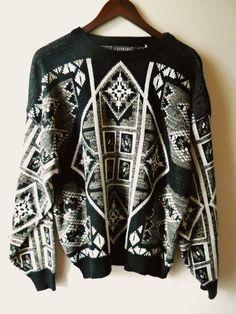Vintage Black & White Tribal Geo Sweater