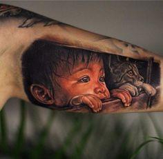 Tattoo Kind und Katze 3D OMG SO REALISTIC