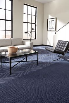 Rhythm in the Brio and Cadence patterns and Elegy colorway. #Milliken #modularcarpet