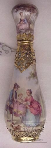 Victorian Limoge Enamel and Silver Perfume Bottle. ca.1880.
