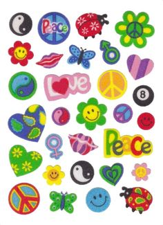 Sandylion Old MAXI Fuzzy Stickers Retro Symbols Peace Love smile ladybug heart flower power eight ball Retro Rare Vintage Scrapbook by stickersrarevintage on Etsy Photo Wall Collage, Collage Art, Indie Kids, Hippie Art, Vintage Scrapbook, Aesthetic Stickers, Cute Stickers, Cute Wallpapers, Peace And Love
