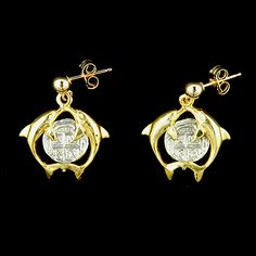 Atocha Jewelry - Small Silver Coin Double Dolphin Earrings from Virtual Treasure Chest