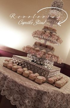 WWW.DECORATEMYWEDDING.COM  Revolving Pearl & Rhinestone Cupcake Stand