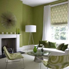 These olive green walls look incredible & the white trim pops.  All it needs is gobs of navy!